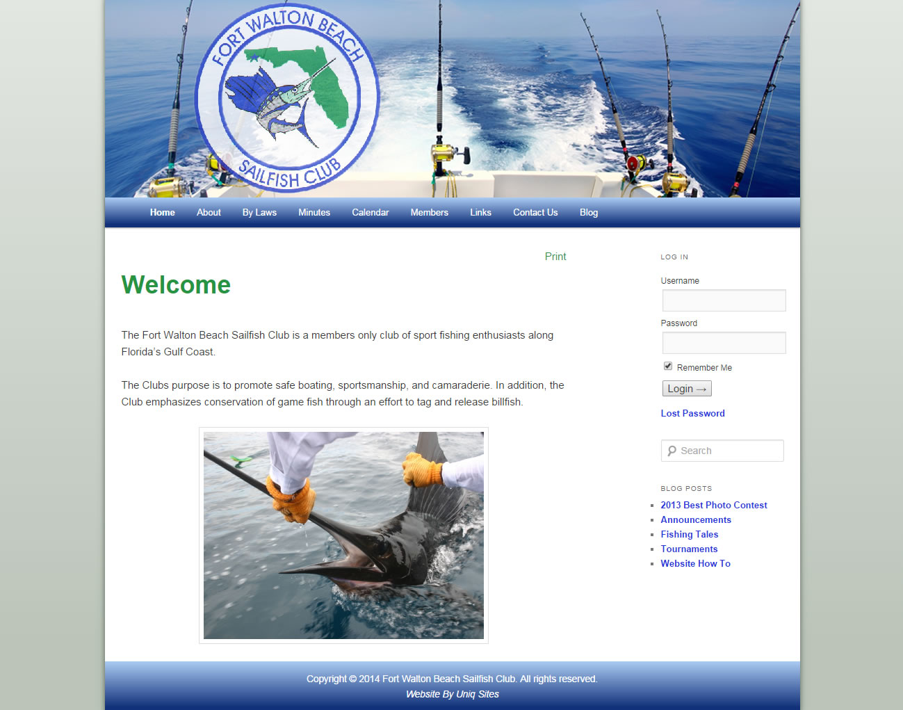Fort Walton Beach Sailfish Club Small Business Website Design Example