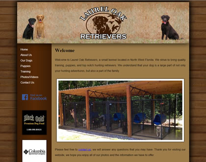 Laurel Oak Retrievers Small Business Website Design Example